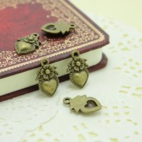 Wholesale Made Love Charms - Sweet Bell 11*18mm Antique Bronze Vintage Metal Alloy Hearts Made with Love flower Charm Jewelry Heart Charms D0267