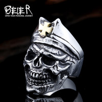 Wholesale Skull Wings Rings - Dhgate 316L Hot Sell Cross Ring 316LStainless Steel Winged Skull Gold Cross Punk Skull Jewelry BR8-423