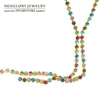 Atacado- Neoglory Áustria Rhinestone Charm Long Chain Necklace para mulheres Venda na moda Multicolored Design Wholesale Round Beads Brand Gift