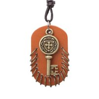 Wholesale Tungsten Key Pendant - Brand Imitation Bronze Plated Leather Luxury Style Full Rope Leather Key Pendant Long Chain Necklace Women Jewelry