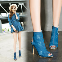 Wholesale Denim Shorts Boots - Hot style 2017 New side zippers fashionable denim round head stiletto boots with short tube cooler