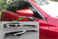 Wholesale Chrome Side Moulding - Chrome Car Door Side Mirror Cover Trim Eyebrow For MAZDA 3 AXELA 2013 2014 Rearview Mirror Moulding 2pcs pair Car Styling 2 Types