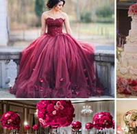 Wholesale Ball Gown Embellished Appliques - Dark Red Ball Gown Prom Dresses Sweetheart Lace Tulle Petal Embellished Floor Length Evening Gowns 2017 Sweet 16 Dresses
