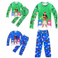 Wholesale Set Suits 3m - baby Christmas pajamas outfits Moana printing top pants Xmas kids Clothing Sets Soft Sleepwear suit KKA2765