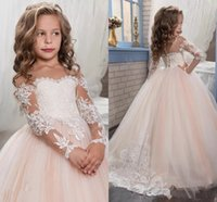 UK long sleeves wedding dress princess - Cute Princess Dresses Arabic 2017 Vintage Tulle Flower Girls Dresses with Appliques Long Sleeves Custom Made Girls Pageant Gowns