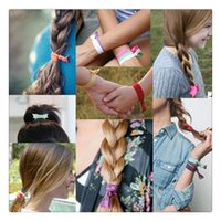 Wholesale fold over elastic free shipping - High Quality Hair Ties Brands Fold Over Elastic Hair Band FOE Band Gilrs Ponytail Holder No Fraying Assorted Colorful Styles Free Shipping