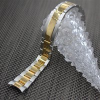 Wholesale Silver Ends For Bracelets - Watchbands 20mm Watch Band Strap 361L Stainless Steel Bracelet Curved End Silver with gold Watch Accessories for Rolex
