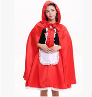 Wholesale Sexy Little Red Riding - High Quality Sexy Little Red Riding Hood Costume Party adult Small Red Cap cosplay Dress New Clothing Halloween for Women