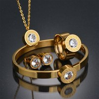 Wholesale Earrings Pink Gold Ring - Top Quality 316l Stainless Steel Anniversary Jewelry Set 18k Gold Plated Earring Necklace Bracelet Ring Jewelry Set Wedding Gift