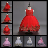 Wholesale Embroidered Rhinestone Gown - 2017 Flower Girl Dress Children Red Mesh Trailing Butterfly Girls Wedding Dress Kids Ball Gown Embroidered Bow Party Dress