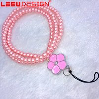 Pearl Phone Phone Lanyard Rope Straps Para iphone 7 7plus 6 6plus 5s Beads Coroa de pescoço para USB Holder Keychain