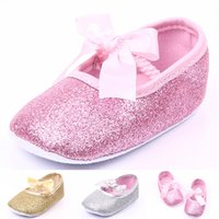 Wholesale Gold Glitter Baby Shoes - Wholesale- The New Glitter Bow Princess Girls Shoes Baby Infant Shoes Comfortable Soft-soled Shoes Gold Silver Pink, Sweet and Cute Fashion