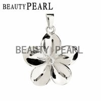 Wholesale Wholesale Pearls For Flowers - 2 Pieces Blanks Pendant Base 925 Sterling Silver Flower Pendant Mountings for DIY Pearl Jewellery Making