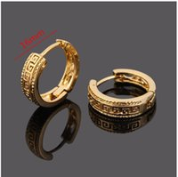 Wholesale 24k Gold Jewelry Wholesalers - 2 pair lot basic style 24k Gold Plated Ear Hook brass material Stud Earrings Jewelry for Men Women gold plated 2 years guarantee