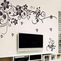 décalcomanies de fleurs noires pour mur achat en gros de-Hot DIY Wall Art Decal Décoration Mode Romantique Noir Fleur Wall Sticker / Stickers Muraux Décor À La Maison 3D Papier Peint Usine En Gros