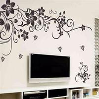 arte mural romántico al por mayor-Hot DIY Wall Art Decal decoración moda romántica flor negra etiqueta de la pared / pegatinas de pared decoración para el hogar 3D Wallpaper fábrica al por mayor