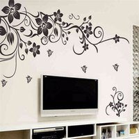 Wholesale Country Living Homes - Hot DIY Wall Art Decal Decoration Fashion Romantic Black Flower Wall Sticker  Wall Stickers Home Decor 3D Wallpaper Factory Wholesale