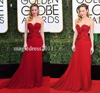 Wholesale Pear Ruby - Ruby Tulle Strapless Sweetheart Evening Prom Dresses Brie Larson Golden Globes 2017 A-Line Major Beaded Ruffled Red Celebrity Formal Gowns