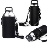 Wholesale Travel Water Bottle Holder - Black Water Bottle Holder Carrier Sleeve Covers with Shoulder Strap for Yeti bottle 18 36  64 oz for travel Walking Hiking Kits