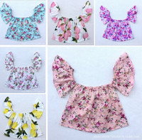 Wholesale Red Baby Bow Headband - INS Baby Girls fly sleeve tops summer new kids printed Rose Floral Dew shoulder T-shirt + Bows headbands 2pcs sets off-shoulder clothes