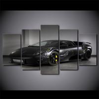 araba film baskısı toptan satış-5 Adet / takım Çerçeveli HD Baskılı Siyah Lüks Araba Resim Ev Dekor Tuval Dekoratif Resimler Yağlıboya