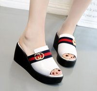 black thick heel - Female summer new fashion slippery with pine cake thick skim slippers slippers