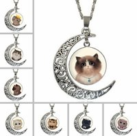 Wholesale Moonlight Necklace - High quality Breaking cartoon cat moonlight gemstone necklace WFN180 (with chain) mix order 20 pieces a lot