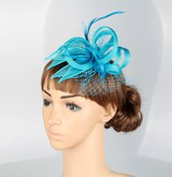 Wholesale Green Feather Hair Comb - Free shipping 16 colors Turquoise blue sinamay hats fascinator hair accessories cocktail hats party hairband weding hearwear 6Pcs lot MYQ018
