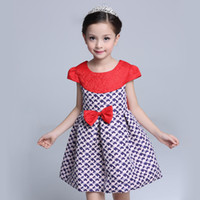 Wholesale high fashion children dresses for sale - 2017 Fashion Bow Girls Party Dresses High Quality Red Children Dress Print Girls Princess Dresses Spring Summer Kids Brand Dress