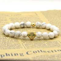 Wholesale Wholesale Leopard Rings - Wholesale Four Colors Micro Paved Leopard Head With White Howlite Marble Beads Charm Bracelets 10pcs lot Best Men's Jewelry