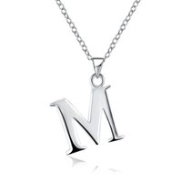 Wholesale Initial T Necklace - Funny English Letters 925 Silver Plated Women's Necklace Pandants Necklace Link Chains 45cm Length G M P Q R T U V W X Y