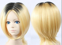 Wholesale Blonde Black Mix Cosplay Wigs - Wholesale free shipping >>>>Kenma Kozume Cosplay Wig Short Blonde Mix Black Synthetic Hair Wigs+ wig cap