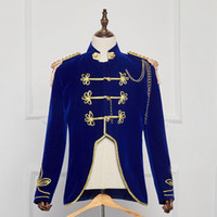 Wholesale Sequins Suits For Men - Hot Sale 2016 Medieval Renaissance Europe Palace Prince Suits Costumes Blue Slim Drama Performance Costumes For Men