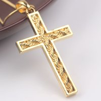 Hombres / Mujeres Solid 24K Gold Gold Filled GF No Stone Cross Colgante Crucifix Chain Necklace Jewelry 6G