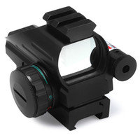 láser de airsoft al por mayor-Láser Holográfico Sight Scope Reflex 4 Red Green Dot Reticle Picatinny Rail 33mm para AR Rifle 12ga Airsoft Hunting + B