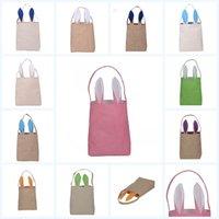 Wholesale Egg Packing - 8xy Easter Bunny Ears Painted Egg Bags Cotton Linen Basket Lovely Carrier Storage Bag Packing Handbag For Child Festival Reticule Gift R