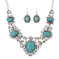 Wholesale Ethnic Jewelry Sets Antique Silver Color Big Blue Stone Flower Collar Maxi Necklace Female and Drop Earrings Vintage Accessories