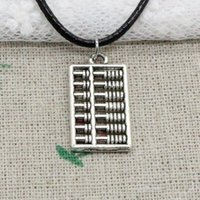 Wholesale Cord Necklace 25 - New Fashion Antique Silver Charms double sided abacus 25*12mm Pendant Blacker Leather Cord Hand Made DIY Fashion Necklace Jewlery