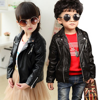 Wholesale Leather Jacket Boys Red - New Boys Girls Jacket Fashion Coats children PU leather outwear 2017 new kids autumn coat tops boys leisure zipper outwear Red Black A7369
