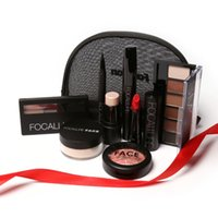 Wholesale Makup Bag - Wholesale- A set New Fastion Focallure Makup Tool Kit 8 PC Cosmetics Including Eyeshadow Lipstick With Makeup Bag Makeup Set Z3