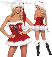 Wholesale Christmas Hats For Adults - Wholesale-Hot Sales Sexy Christmas Costumes for Adult Red Strapless Corset Top+Skirt+Hat Santa Claus Costumes Fantasy Sensual Women