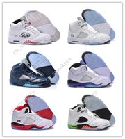 Cheap New Retro 5 V Olympic OG metallic Gold Tongue Man Basketball Chaussures Noir Metallic bleu rouge Suede Fire Red Sport Sneakers taille 41-47