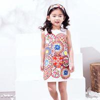 Wholesale Dot Girl Dress - Summer Dress 2017 W.L.Monsoon Brand Girl Dress Printing A-Line Sleeveless Dress High Quality Children Customes