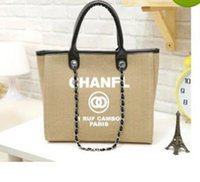 Wholesale Large Black Canvas Totes - 2017 fashion Famous fashion brand name women handbags Canvas Shoulder bag chains of large capacity bags