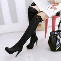 Wholesale Sexy Tall Man - Sexy thin heels boots female ultra high heels 40 - 43 knee-length tall boots free shipping