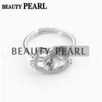 ingrosso gli oggetti di gioielleria-Bulk of 3 Pezzi Cute Cat Ring Blanks 925 Sterling Silver Zircon Jewellery Pearl Party Gift