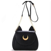Atacado - Cheap Sailor Moon Chain Shoulder Bag Senhoras Luna Cat Bolsa de couro PU Mulheres Messenger Crossbody Small Bag Cute LWW0105
