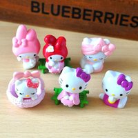 Wholesale Kitty Girl S Sets - 6 Pcs set cute Hello Kitty action figure toys 5cm mini PVC cartoon cat model collection toys girls Christmas Birthday Gifts