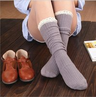 Wholesale Wholesale Lace Trim Boot Sock - Wholesale-Fashion Kawaii Autumn Winter Women's Knit Lace Trim Leg Warmers Cotton Socks Boot Stockings Knee High Socks 6 Colors