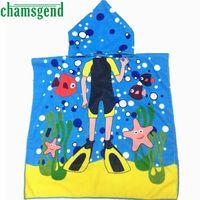 Wholesale Toddlers Hooded Bath Towels - Kids Swimwear Boys Girls Cover-Ups Swimsuit Hooded Towel Kids Toddlers Bath Wrap Beach Poncho with Hood Robe Beachwear Jan6ZYP